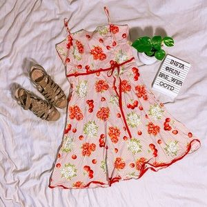 Red and cream A-line dress